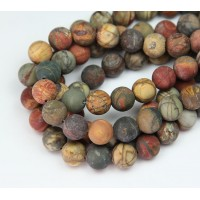 Matte Red Creek Jasper Beads, Rust Orange, 10mm Round