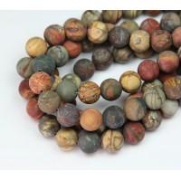 Matte Red Creek Jasper Beads, Rust Orange, 8mm Round