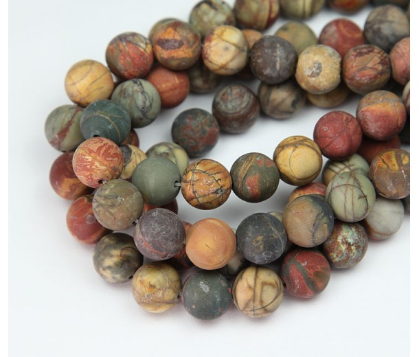Matte Red Creek Jasper Beads, Rust Orange, 8mm Round
