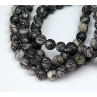Matte Black Veined Jasper Beads, 6mm Round