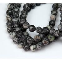 Matte Black Veined Jasper Beads, 6mm Round