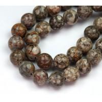 Ocean Fossil Jasper Beads, 10mm Round