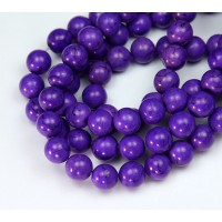Magnesite Beads, Bright Purple, 8mm Round