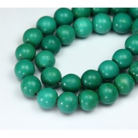 Magnesite Beads, Bright Green, 12mm Round