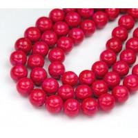 River Stone Jasper Beads, Fuchsia Pink, 8mm Round