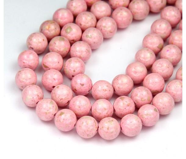 River Stone Jasper Beads, Pastel Pink, 8mm Round