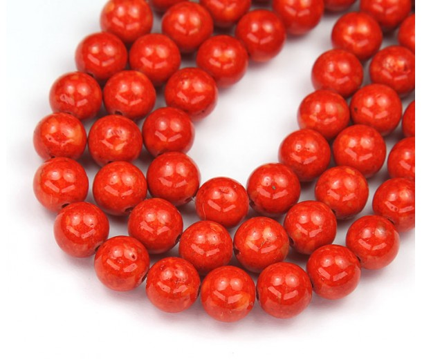 River Stone Jasper Beads, Bright Orange, 8mm Round