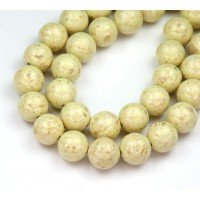 River Stone Jasper Beads, Greenish Beige, 10mm Round
