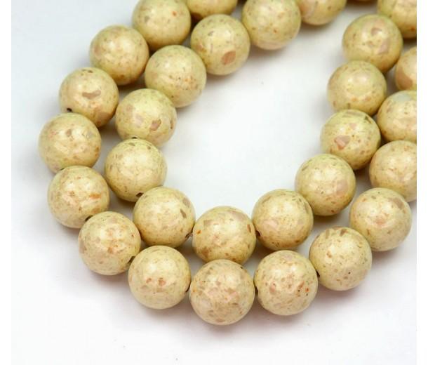 River Stone Jasper Beads, Oatmeal Beige, 10mm Round