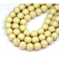 River Stone Jasper Beads, Greenish Beige, 8mm Round