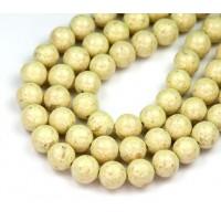 River Stone Jasper Beads, Greenish Beige, 8mm Round