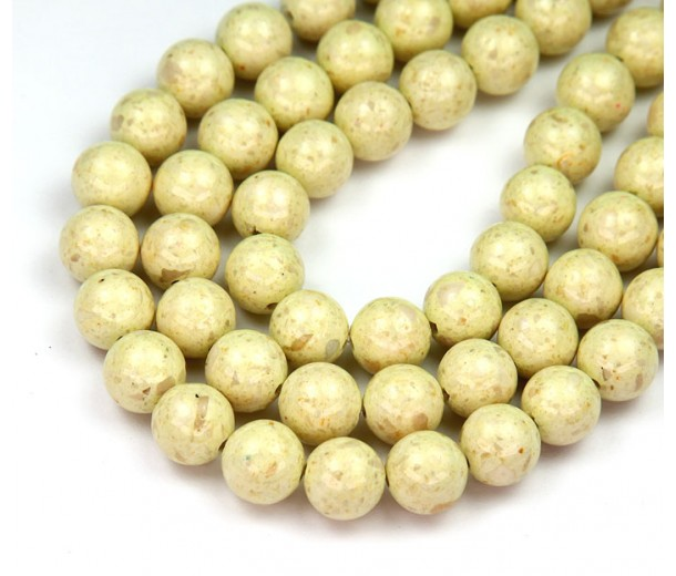 River Stone Jasper Beads, Greenish Beige, 8mm Round, 15 Inch Strand