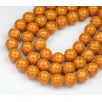 River Stone Jasper Beads, Pumpkin Orange, 8mm Round