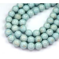 River Stone Jasper Beads, Pale Blue, 8mm Round