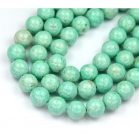 River Stone Jasper Beads, Pastel Teal, 8mm Round
