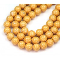 River Stone Jasper Beads, Goldenrod Yellow, 8mm Round