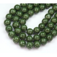 River Stone Jasper Beads, Dark Green, 8mm Round