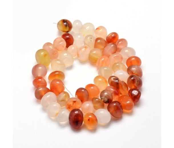 Red Agate Beads, Light, Medium Nugget