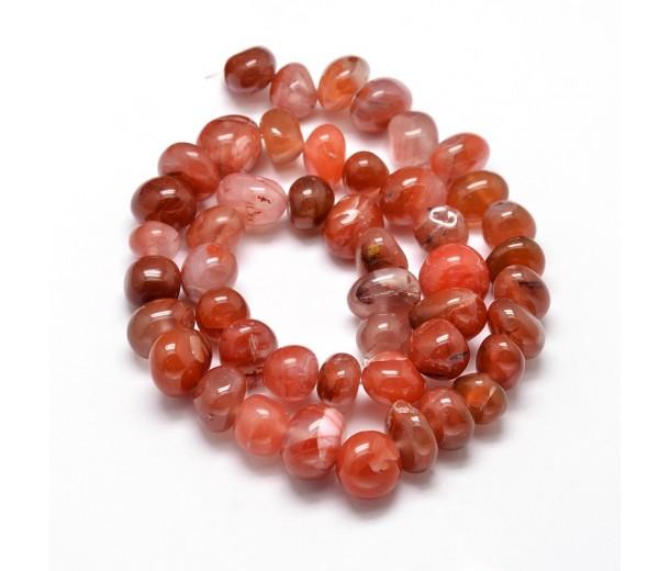 Red Agate Beads, Dark, Medium Nugget