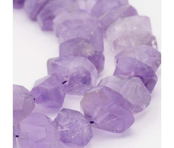 Amethyst Beads, Chunky Faceted Nugget