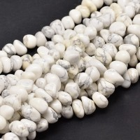 Howlite Beads, White, Medium Nugget