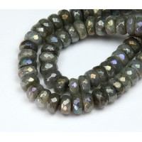Labradorite Beads, AB Finish, 6x10mm Faceted Rondelle