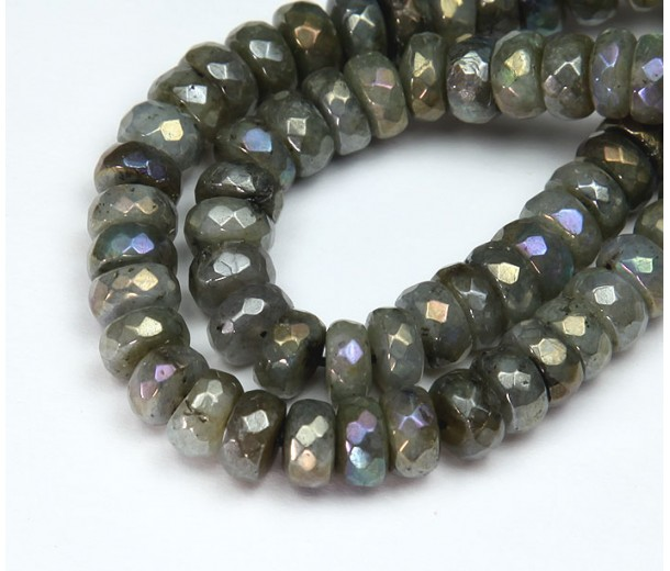 Labradorite Beads, AB Finish, 6x10mm Faceted Rondelle, Pack of 20 Beads