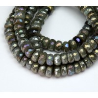 Labradorite Beads, AB Finish, 5x8mm Faceted Rondelle