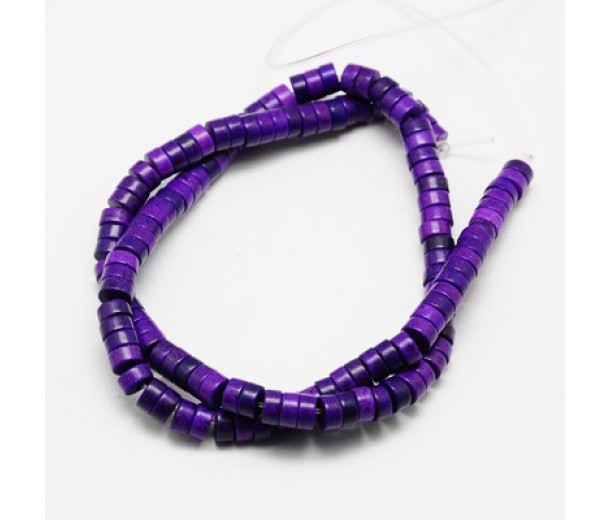 Imitation Turquoise Beads, Purple, 8x3mm Heishi Disk