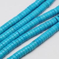 Imitation Turquoise Beads, Light Blue, 8x3mm Heishi Disk