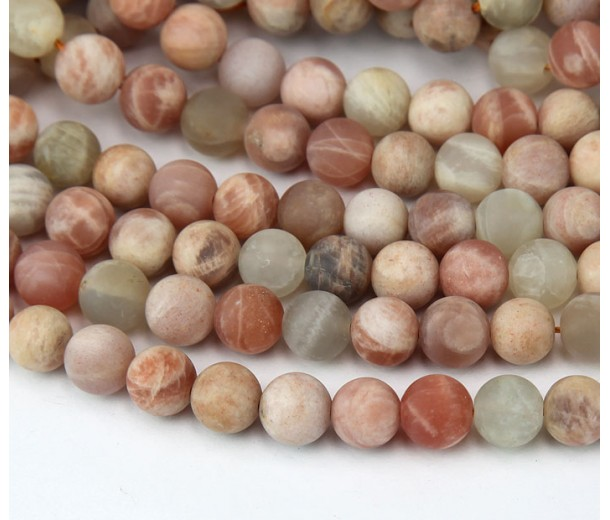 Matte Sunstone Beads, Natural, 8mm Round