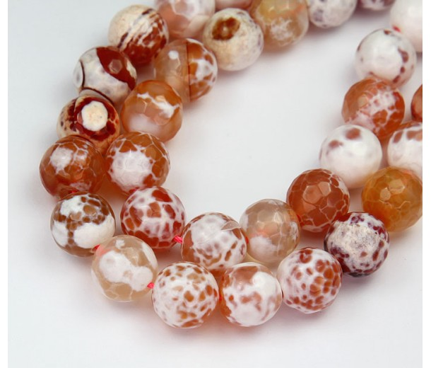 Fire Crackle Agate Beads, Peach, 10mm Faceted Round