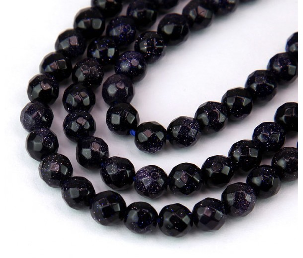 Goldstone Beads, Blue, 6mm Faceted Round