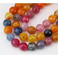Fire Crackle Agate Beads, Blue and Yellow, 10mm Faceted Round