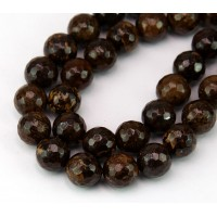 Bronzite Beads, 10mm Faceted Round