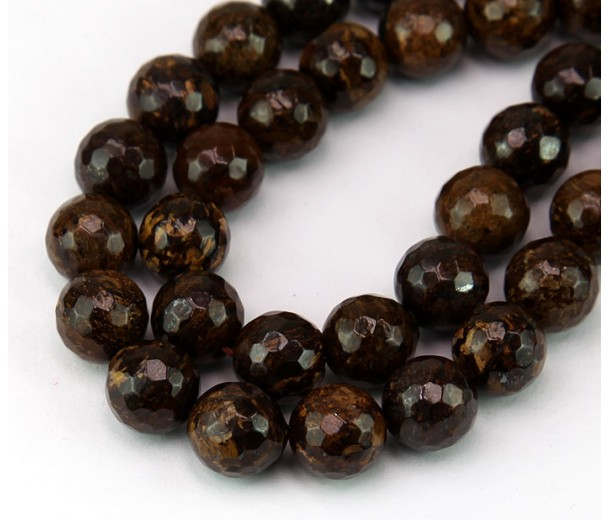 Bronzite Beads, Natural, 10mm Faceted Round