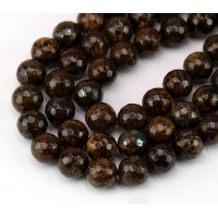 Bronzite Beads, Natural, 8mm Faceted Round