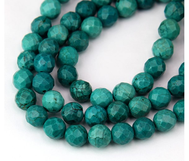 Turquoise Beads, Dark Teal, 8mm Faceted Round