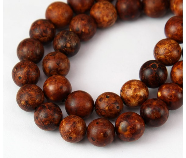 Antiqued Agate Beads, Brown, 10mm Round