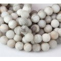 Matte Crazy Lace Agate Beads, Grey, 10mm Round