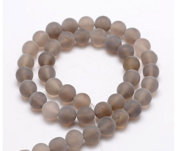 Frosted Agate Beads, Smoke Grey, 6mm Round