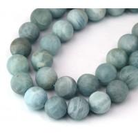 Matte Aquamarine Beads, 8mm Round