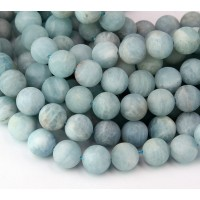 Matte Aquamarine Beads, 10mm Round