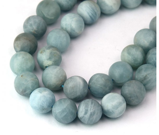 Matte Aquamarine Beads, 8mm Round