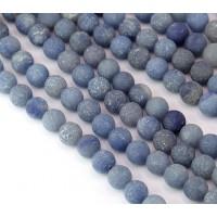 Matte Blue Aventurine Beads, 8mm Round