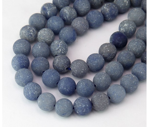 Matte Blue Aventurine Beads, 8mm Round