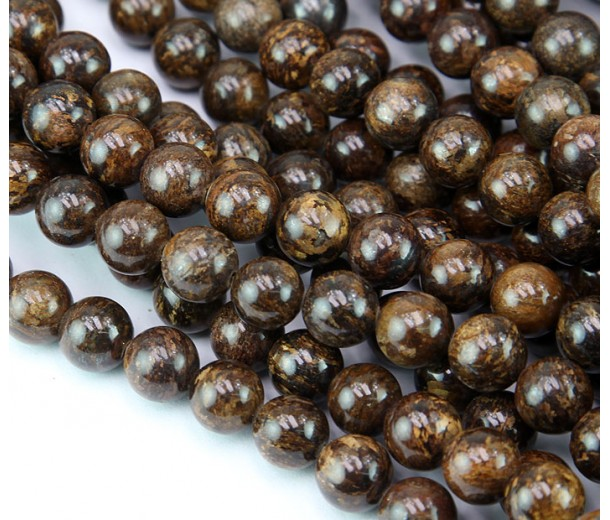 Bronzite Beads, Natural, 10mm Round
