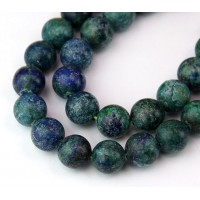 Matte Chrysocolla Beads, Blue Green, 10mm Round