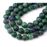 Matte Chrysocolla Beads, Blue Green, 8mm Round
