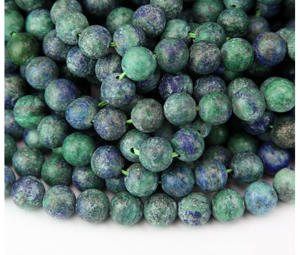 Matte Chrysocolla Beads, Blue Green, 10mm Round